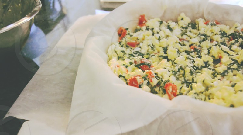 Pastry filling - spinach feta and peppadew photo