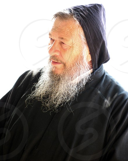 A hermit in Northern Lebanon talking to a young crowd about life and marriage photo