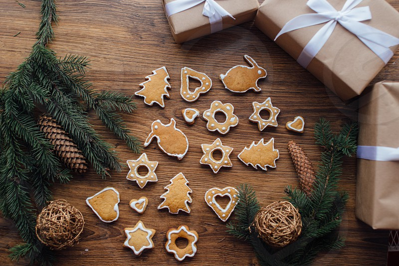 Christmas cookies with gifts photo