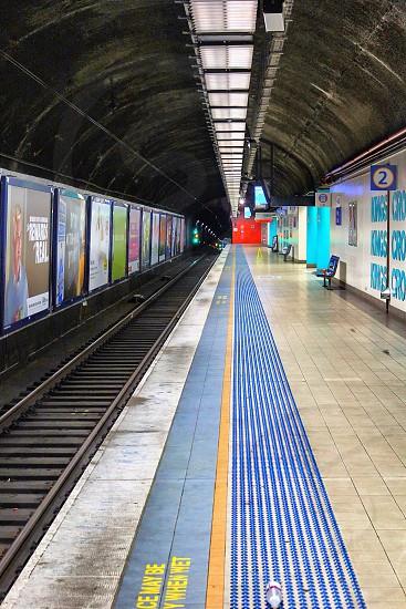 Platform lines underground station photo