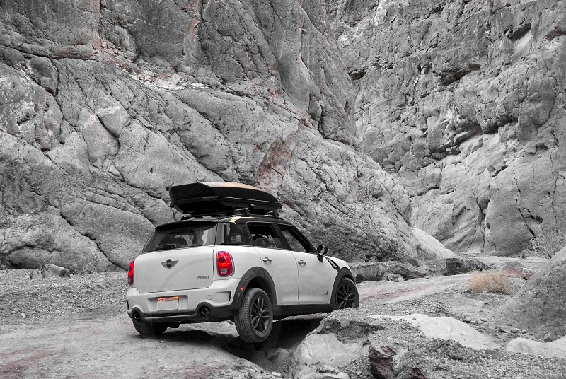 Mini Cooper on the off-road trail photo