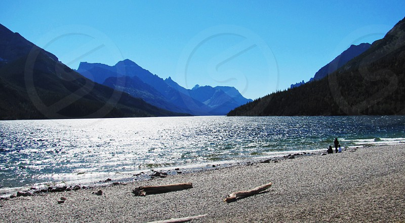 Mountains lake Alberta explore adventure beach summer photo
