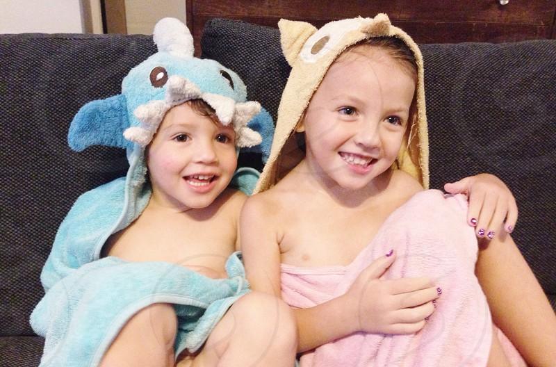 boys wearing animal themed bathroom towel photo