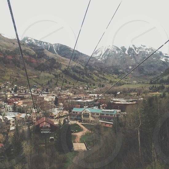 Telluride Colorado mountains trees town  photo