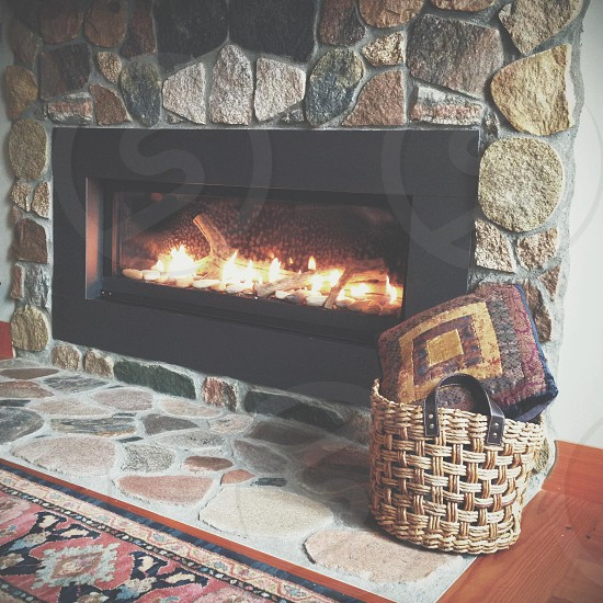gray and black fireplace photo