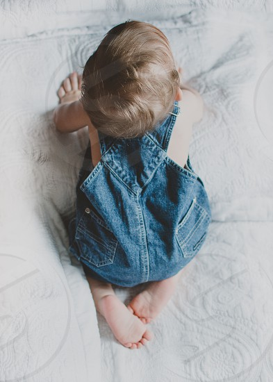 Baby baby feet overalls toddler boy photo