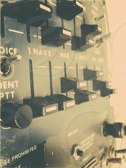 Radio column controls in an aircraft.  photo