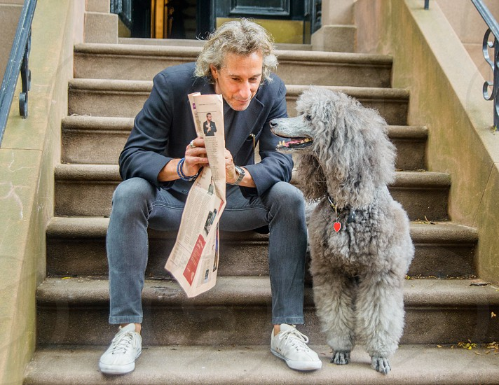 man in grey blazer sitting on staircase beside standard poodle during daytime photo