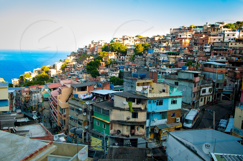 City town beach Rio de Janeiro favela colors  photo