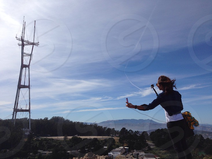 Dramatic GoPro selfie attempt in 40mph winds at Twin Peaks in San Francisco photo