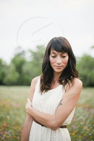 woman's wearing a white tank top dress photo