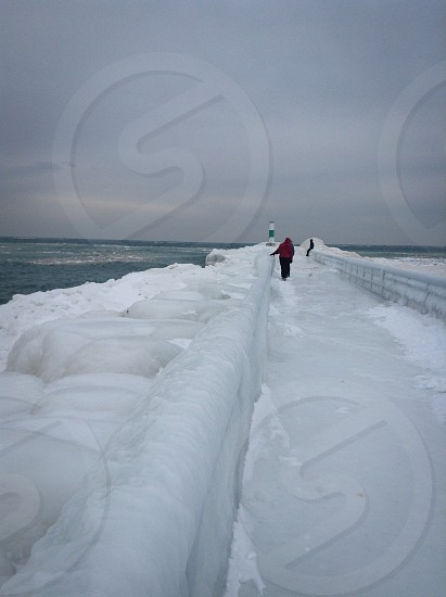 Winter; Pier; Snow; Lighthouse; Lake; Michigan photo