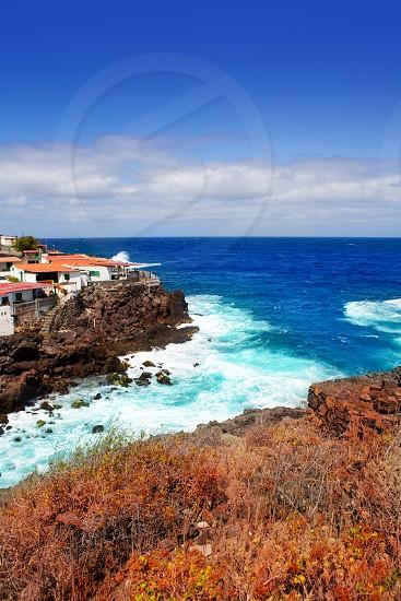 La Palma Santa cruz volcanic stone atlantic coast beach in Canary Islands photo