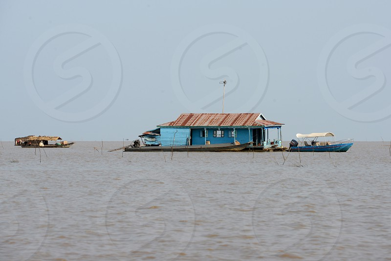 a restaurant at the Lake Village Kompong Pluk at the Lake Tonle Sap near the City of Siem Riep in the west of Cambodia.   Cambodia Siem Reap April 2014 photo
