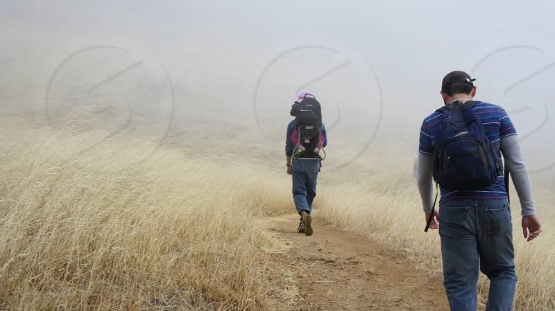White gold fog foggy hike trail dip sea photo