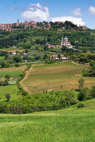 MONTEPULCIANO TUSCANY/ITALY - MAY 17 : View of San Biagio church and Montepulciano on May 17 2013 photo