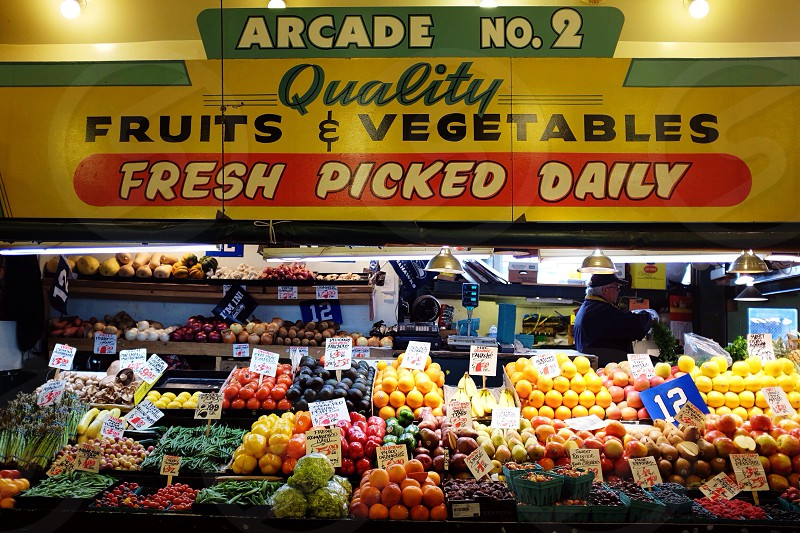 arcade no. 2 quality fruits & vegetables fresh picked daily store photo