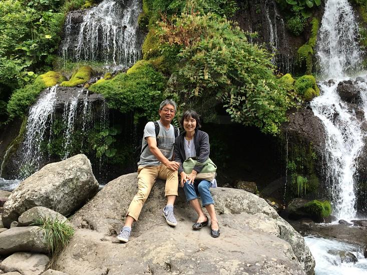 with my wifeKiyosatowaterfall photo