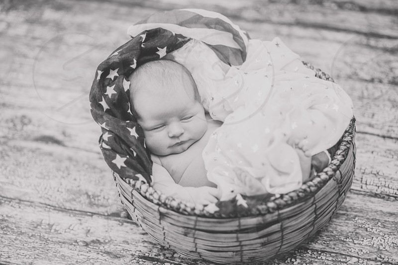 Baby infant newborn Fourth of July  summer precious photography red white blue patriotic child daughter black and white  photo