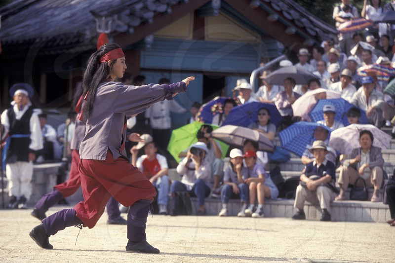 a traditional korean dance show in the city of Seoul in South Korea in EastAasia.  Southkorea Seoul May 2006 photo
