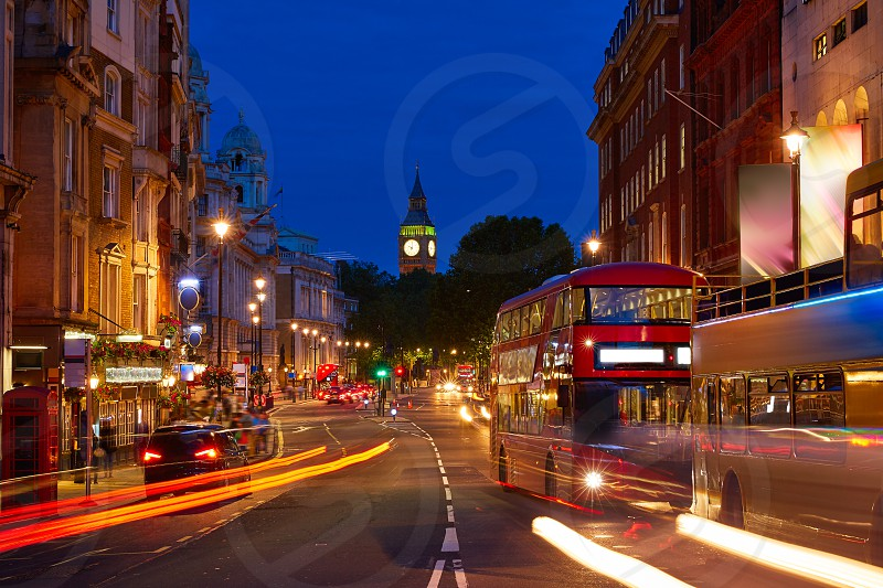 London Big Ben from Trafalgar Square traffic lights at sunset photo
