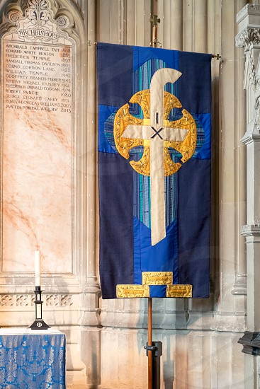 Religious banner in Canterbury Cathedral photo