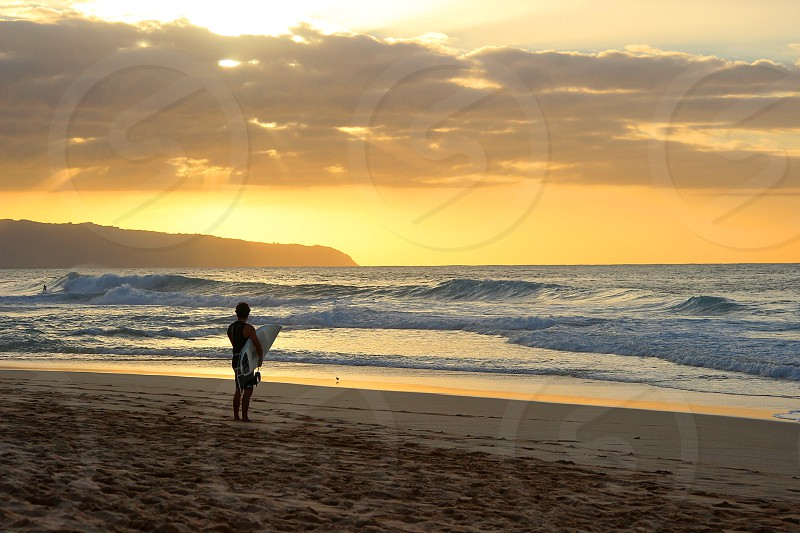 Remembering his day of surfing on the North Shore Oahu Hawaii. photo