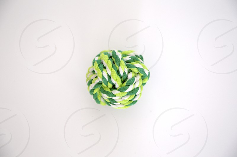 ball rope toy white green photo