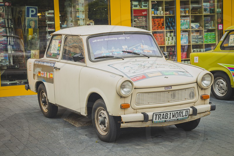 Berlin Germany - May 16 2017: Vintage Trabant cars at Trabi Musem. The automobile was produced from 1957 to 1990 by former East German auto maker VEB. photo