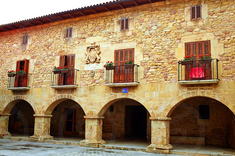 The way of Saint James arcade in Cirauqui at Pamplona Navarra Spain photo