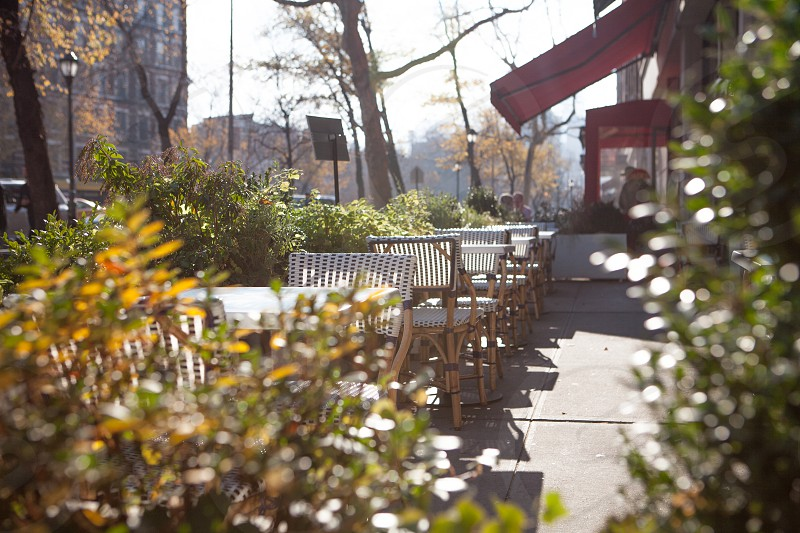 empty brown wicker chairs and tables near green plants during sunny day photo