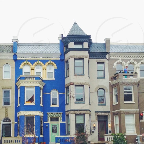 Washington dc buildings district colorful house neighborhood  photo