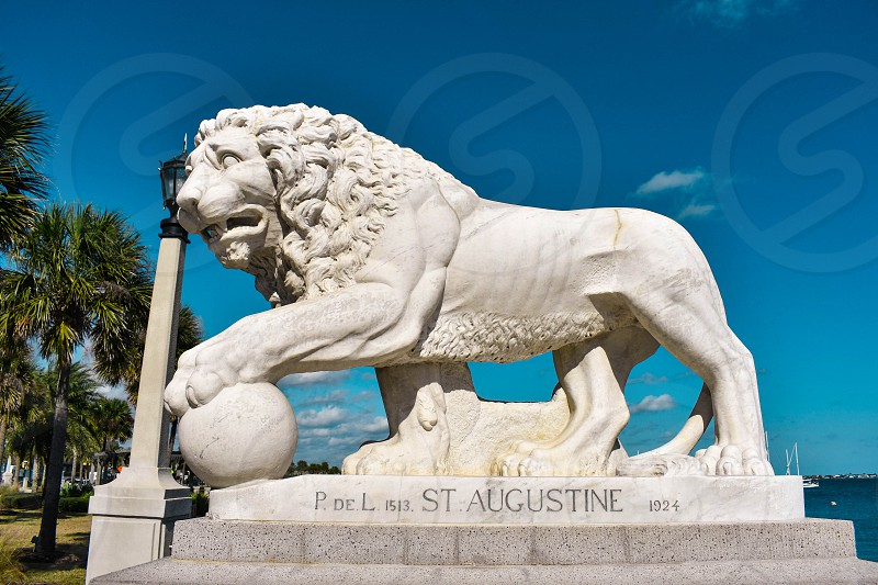 St. Augustine Florida. January 25  2019. St. Augustine Florida. January 26  2019 . Lion on Bridge of Lions built in 1924 at Old Town in Florida's Historic Coast photo