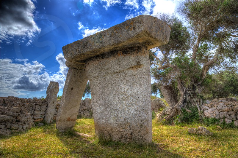 menorca Taules of Talati de Dalt prehistoric tables in Balearic islands photo
