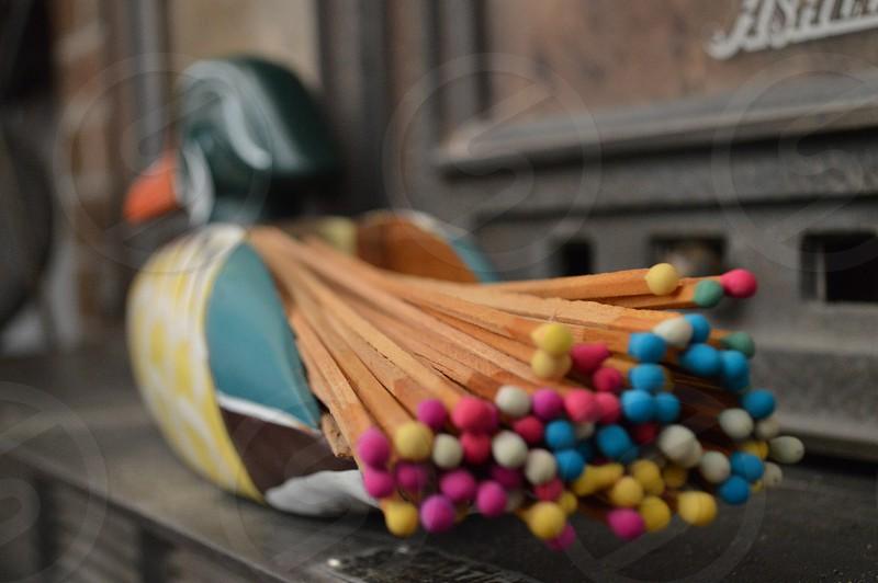 matchsticks on duck holder photo
