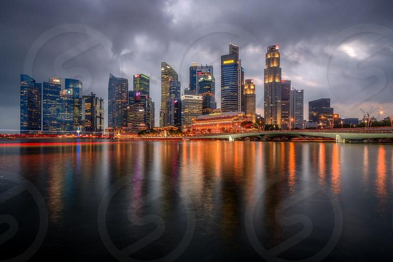 Singapore City Lights Marina Bay photo