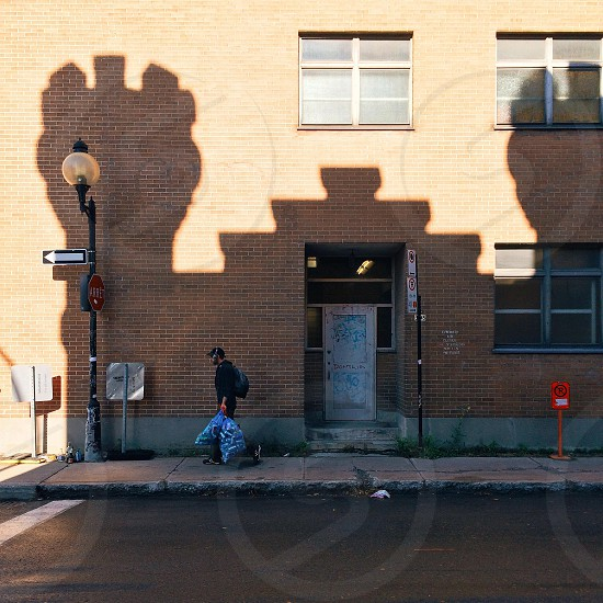 Shadow play on a street scene in montreal  photo