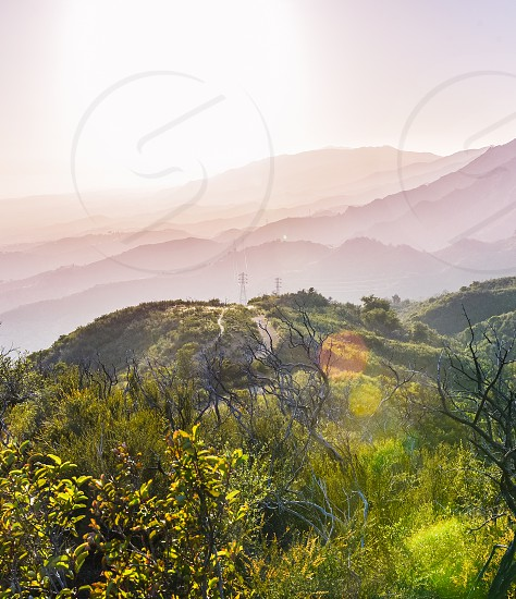 sun mountains flare hills landscape nature santa barbara photo