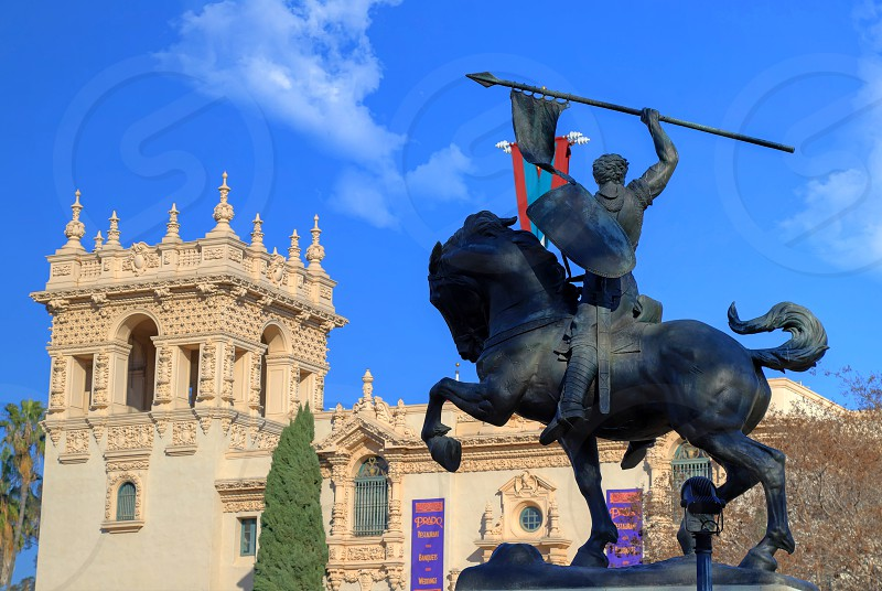 "San Diego California USA - February 5 2018: ""El Cid Campeador"" bronze statue created in 1927 by sculptor Anna Hyatt Huntington and architect William Templeton Johnson and located in Balboa Park San Diego California. photo"