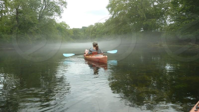 Kayaking in morning mist on Taccoa River  photo