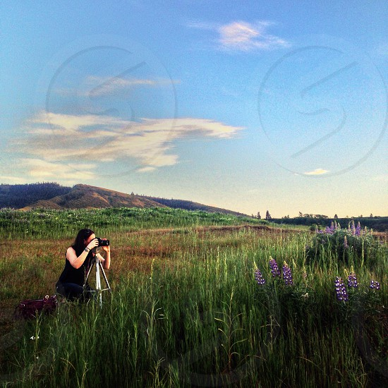 woman taking photos in a green field photo