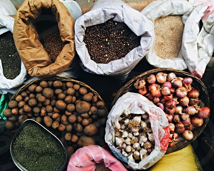 Spices and beans being sold in Kathmandu market.  photo