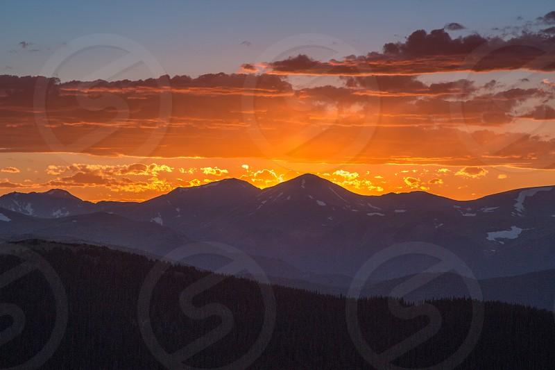Sunset Mount Evans near Idaho Springs Colorado. photo