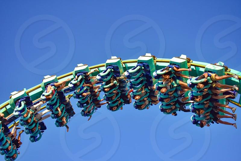 Orlando Florida . February 26  2019.  People enjoying terrific Kraken rollercoaster at Seaworld Theme Park (8) photo