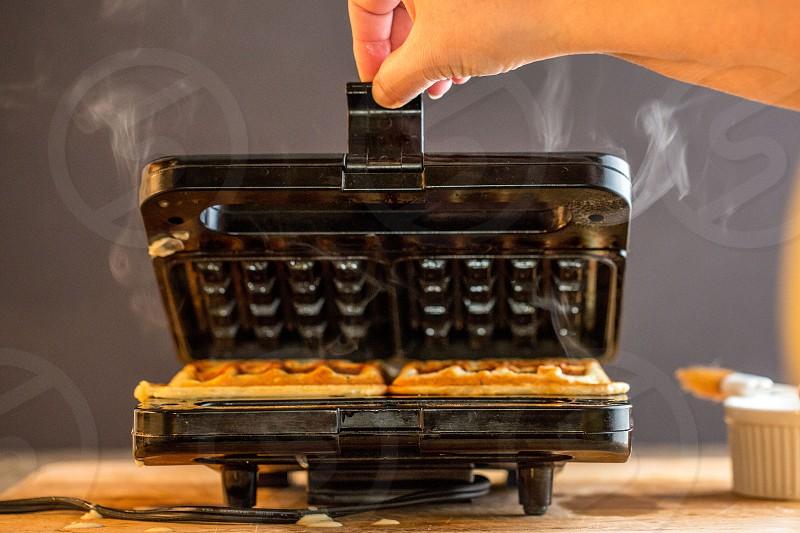 making waffles photo