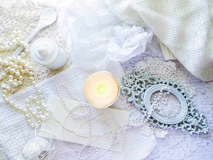 All white / candle / home decor  photo