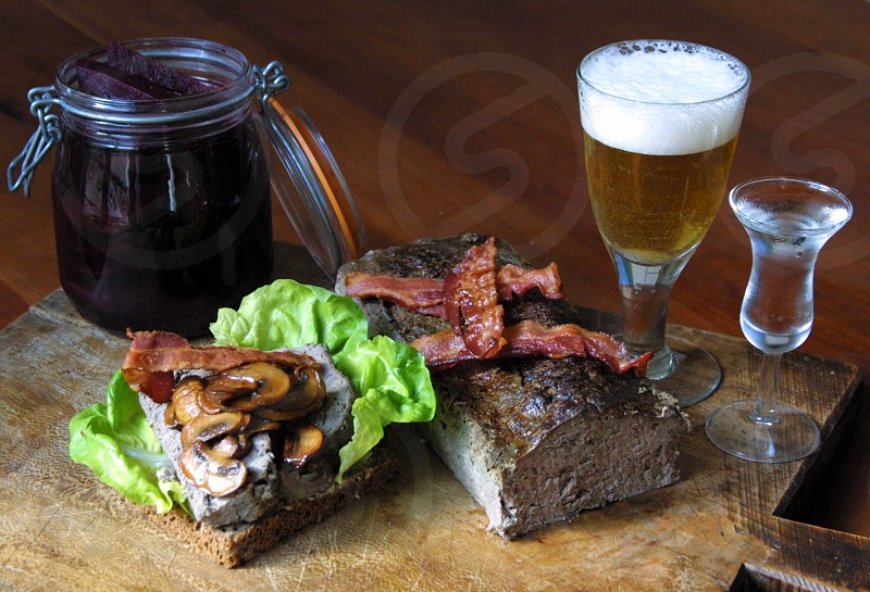 Mom's meatloaf sandwich with beer and schnapps - cheers! photo