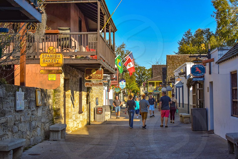 St. Augustine Florida. January 26  2019. Colorful St. George Street at Old Town in Florida's Historic Coast (4) photo