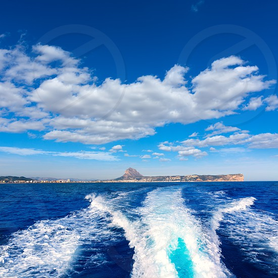 javea with mongo and san antonio cape from boat in mediterranean sea photo