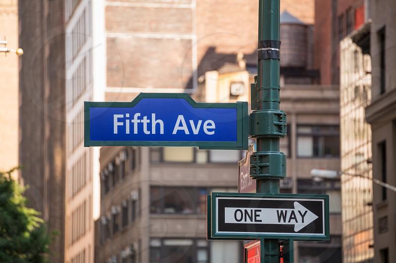 Fift avenue blue sign 5 th Av New York Mahnattan USA photo